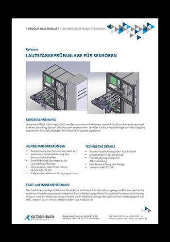 Lautstärkeprüfanlage für Ultraschallsensoren
