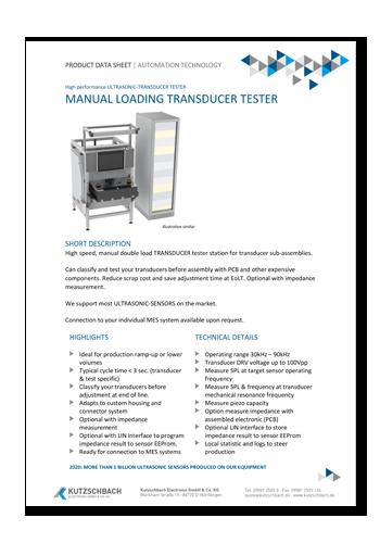Lautstärkeprüfanlage für Transducer